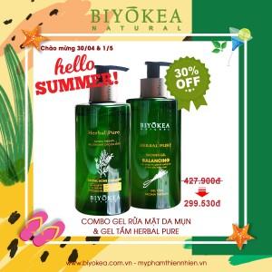Combo Gel rửa mặt cho da mụn và Gel tắm Herbal pure 320ml