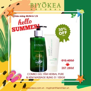 Combo Gel Tắm Herbal Pure 320ml & Kem massage Bụng 100gr